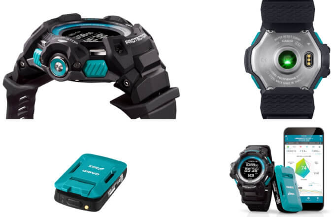 G-Shock GSR-H1000AS-SET with GSR-H1000AS-1 running watch and CMT-S20R-AS motion sensor, co-developed by ASICS, compatible with Runmetrix app