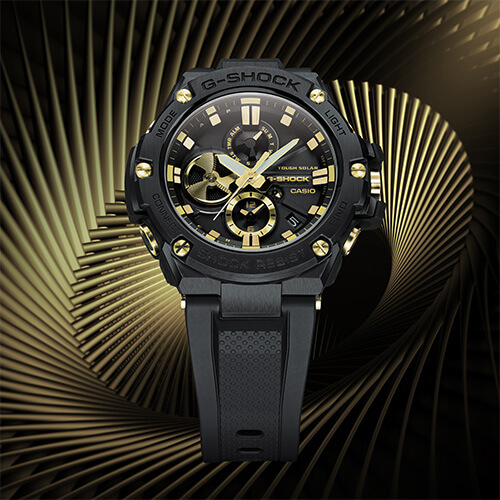 G-SHOCK G-STEEL GSTB100GC-1A BLACK AND GOLD