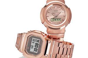 G-Shock GMW-B5000GD-4 & AWM-500GD-4A: Full Metal Rose Gold IP, Rose Gold Ingot