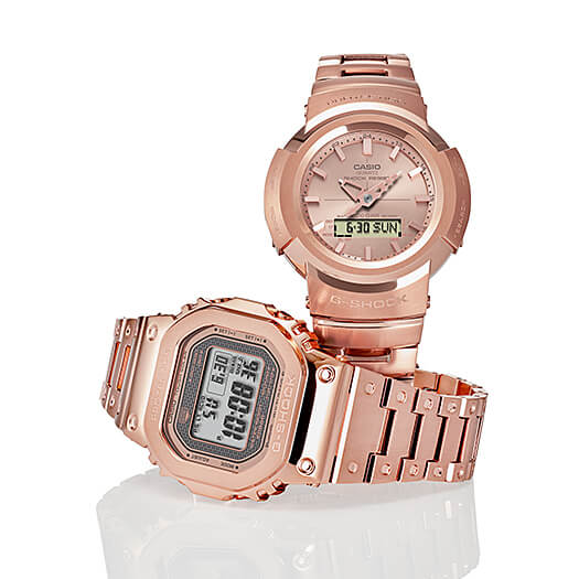 G-Shock GMW-B5000GD-4 & AWM-500GD-4A: Full Metal Rose Gold IP, Rose Gold Ingot