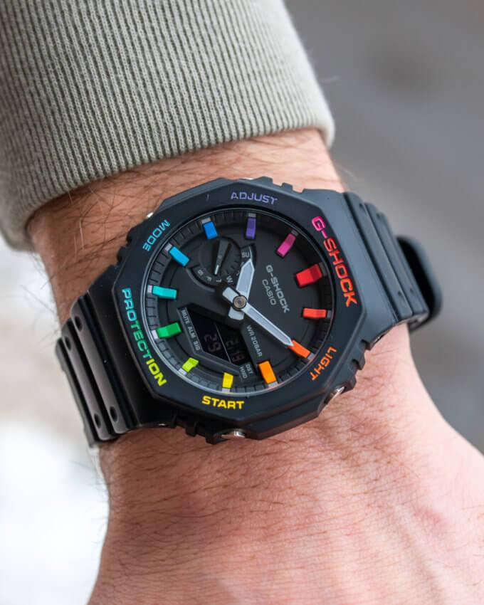IFLW x The Dial Artist G-Shock Casioak Black Rainbow Wrist Shot