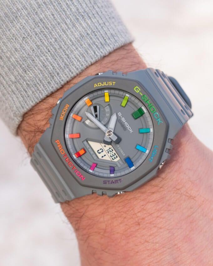 IFLW x The Dial Artist G-Shock Casioak Grey Rainbow Wrist Shot