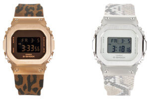 G-Shock GM-S5600LP-5, GM-S5600PT-7, and G-MS MSG-S200 Watches with Leopard and Snakeskin Pattern Bands