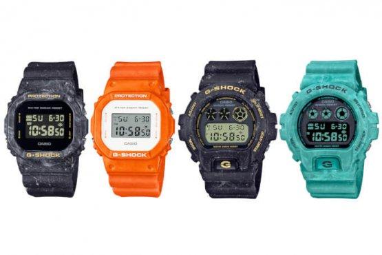 G-Shock Summer Seascape: black DW-5600WS-1, orange DW-5600WS-4, black DW-6900WS-1, blue DW-6900WS-2