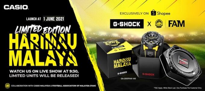 Harimau Malay x G-Shock GA-2000 Collaboration with the Football Association of Malaysia on Shopee