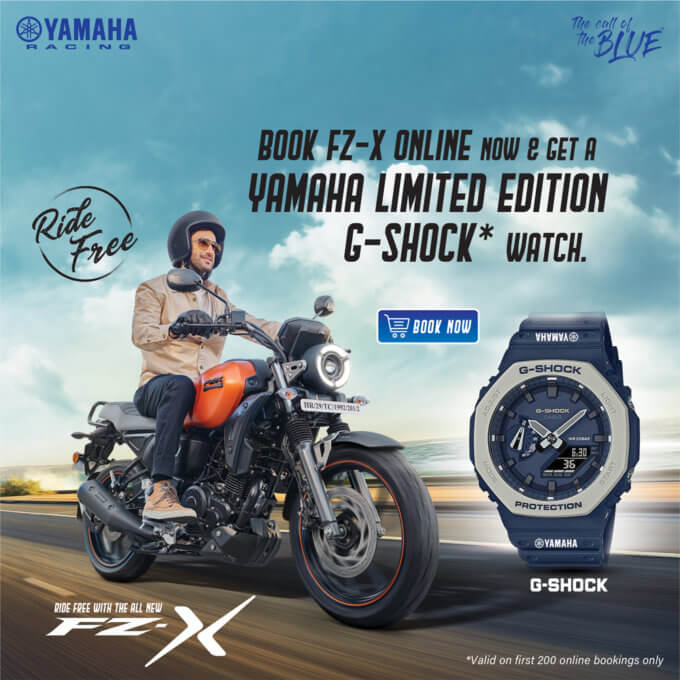 Buy a Yamaha FZ-X motorcycle in India, get a free G-Shock GA-2110ET-8A watch