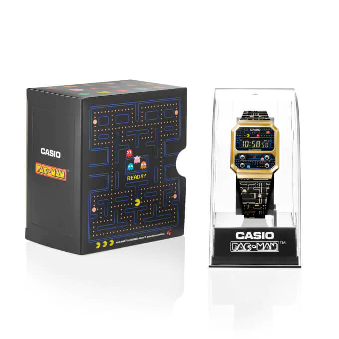 Pac-Man x Casio A100WEPC-1B Packaging and Stand