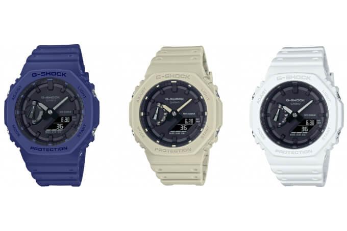 G-Shock blue GA-2100-2A, beige GA-2100-5A, white GA-2100-7A