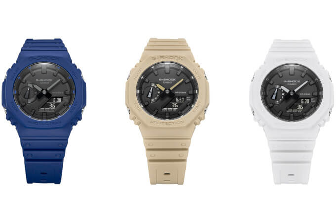 G-Shock adds blue, beige, and white to the GA-2100 series