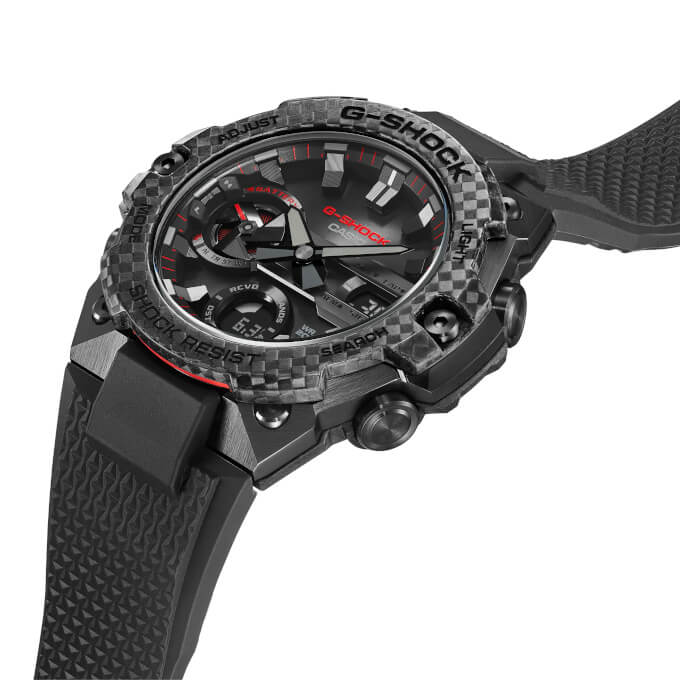 G-Shock GST-B400X-1A4 Black and Red with Carbon Fiber Bezel and Resin Band