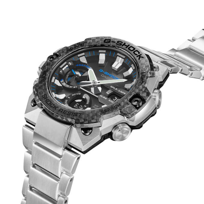 G-Shock GST-B400XD-1A2 Silver and Black with Carbon Fiber Bezel and Stainless Steel Band