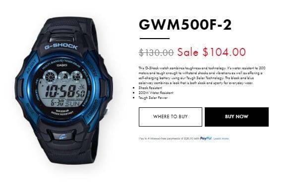 G-Shock GWM500F-2 at gshock.com