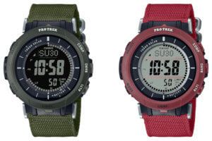 Pro Trek PRG-30B-3 & PRG-30B-4: Green and red cloth bands for the compact solar-powered sensor watch