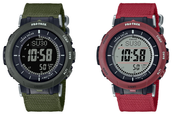 PRO TREK PRG-B30B-3 PRG-B30B-4 Red and Green with Cloth Band
