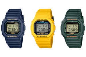 G-Shock Color Origin Tributes: Yellow DW-5600REC, DWE-5600R Carbon Core Set, Blue/Green DW-5600RB