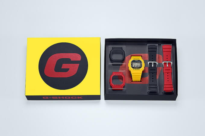 G-Shock DWE-5600R-9 Box Set with Yellow, Black, Red Bezels and Bands