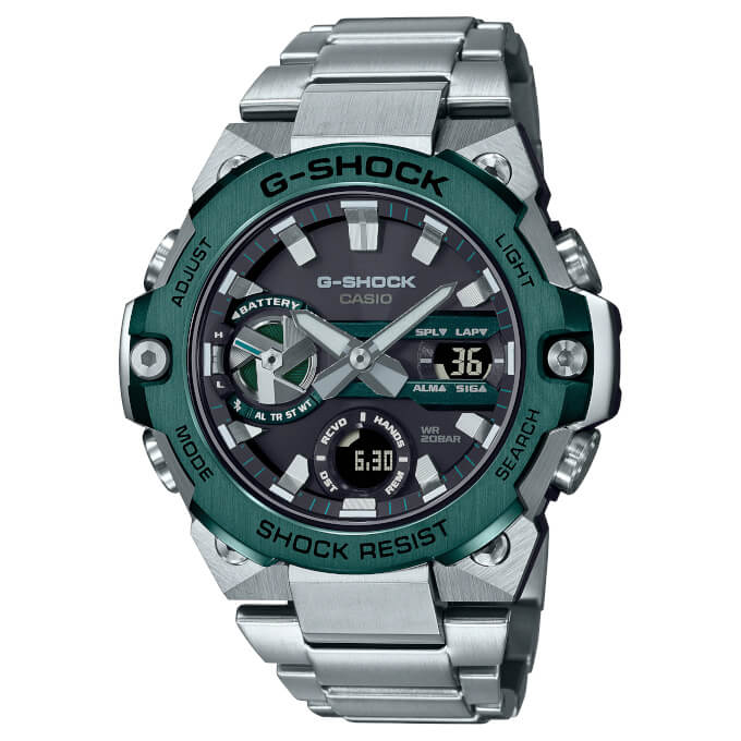 G-Shock G-STEEL GST-B400CD-1A3 with green ion plated bezel