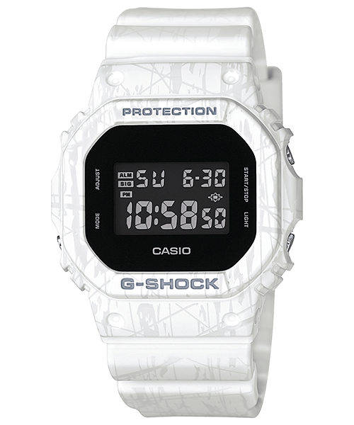 DW-5600SL-7 White Slash Pattern G-Shock Watch