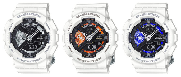 G-Shock Cool White S Series Watches GMA-S110CW-7A1 GMA-S110CW-7A2 GMA-S110CW-7A3