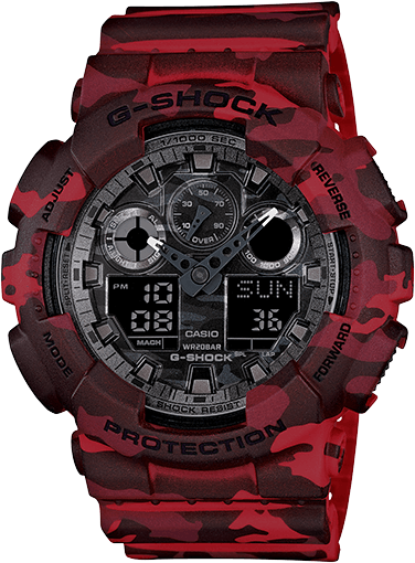 Red Camouflage G-Shock GA100CM-4A
