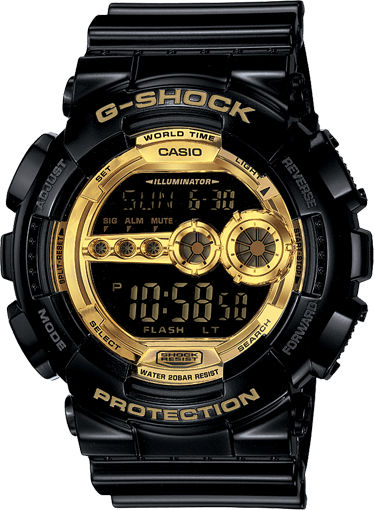 Black and Gold G-Shock GD100GB-1