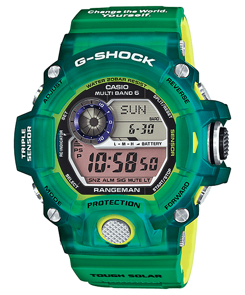 23277b9c63a GW-9401KJ-3JR Love The Sea And The Earth 2015 Rangeman - 2015 JDM limited  edition. Earthwatch collaboration. Translucent green and yellow bezel with  green ...