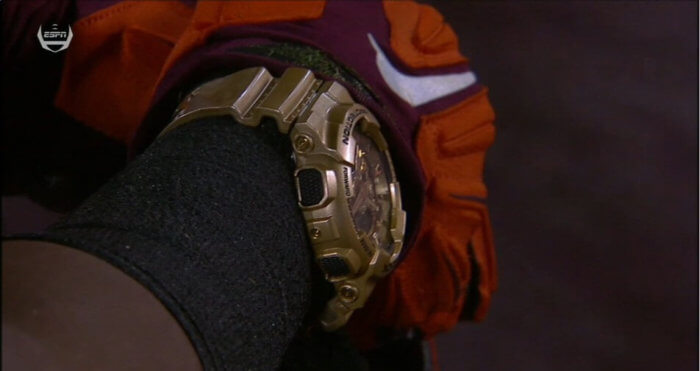 Virginia Tech J.C. Coleman Gold G-Shock Watch In Football Game