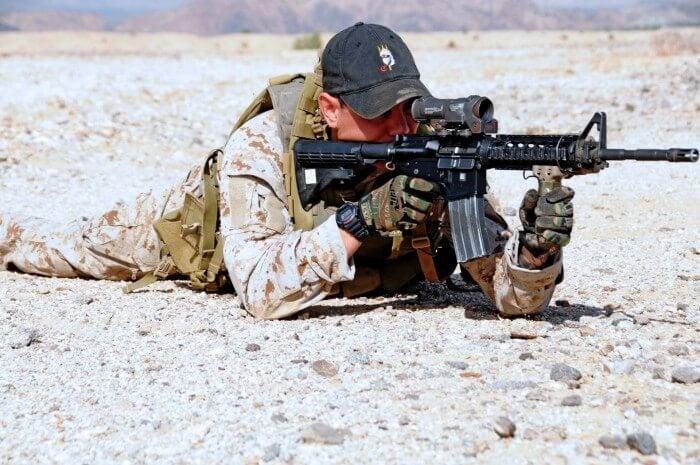 Navy SEAL wearing a G-Shock watch during desert training