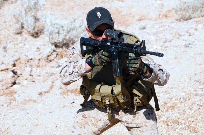 Navy SEAL wearing a G-Shock watch during desert training